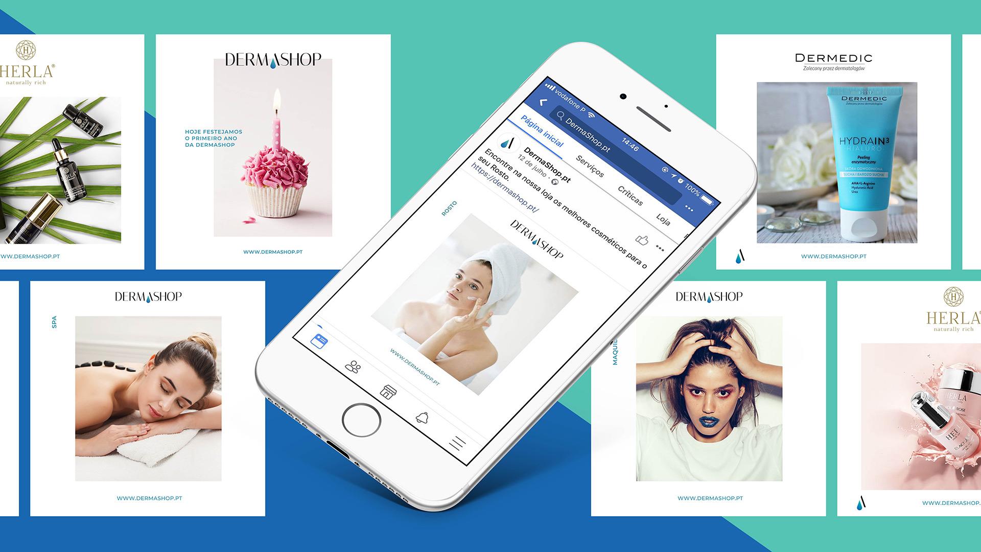 Dermashop desenvolvimento do Marketing Digital, Web design e branding